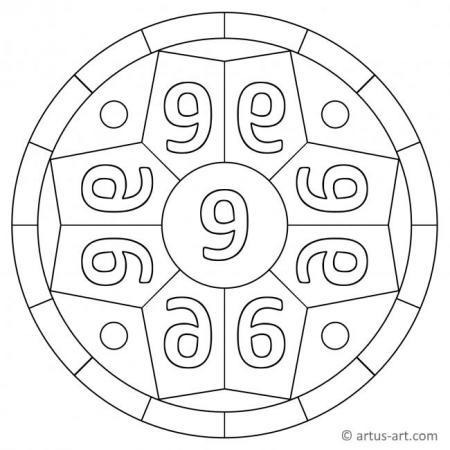 Zahl Neun als Mandala
