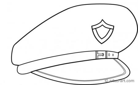 Police Peaked Cap Coloring Page