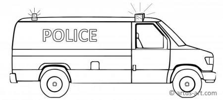 Police Van Coloring Page