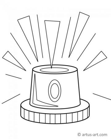 Police Siren Coloring Page