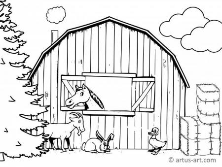 Barn Coloring Page