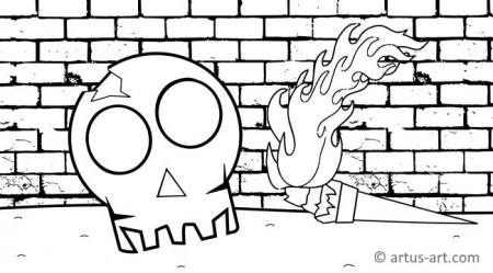 Skull With Torch Coloring Page