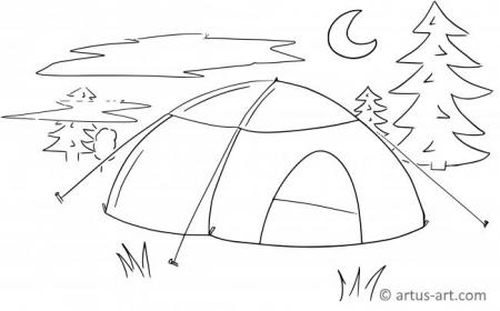 Wake Up In The Morning From Camping Tent Coloring Page : Coloring Sun | 280x450