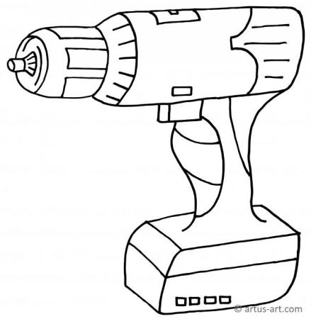 Cordless Screwdriver Coloring Page