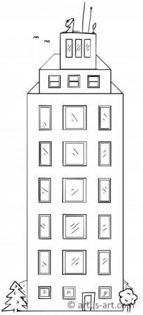 Hochhaus Ausmalbild