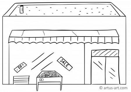 Supermarkt Ausmalbild