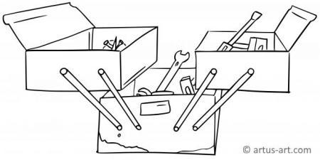 Werkzeugkasten Ausmalbild