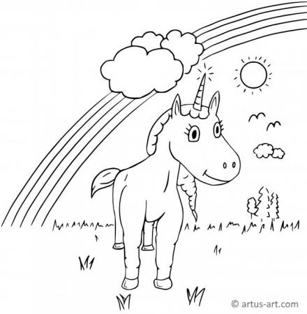 Einhorn Ausmalbild (mit Regenbogen)