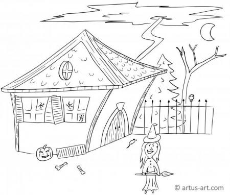 Witch House Coloring Page
