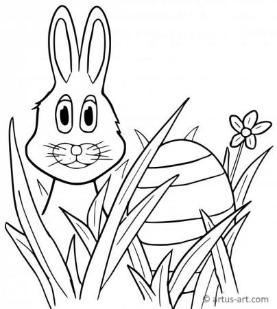 Easter & Rabbit Coloring Page