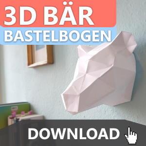 3D Bär Bastelbogen